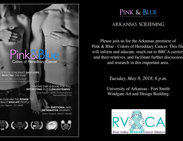 River Valley Ovarian Cancer Alliance RVOCA Fort Smith Arkansas Pink and Blue Movie Event UAFS Windgate Arts Community