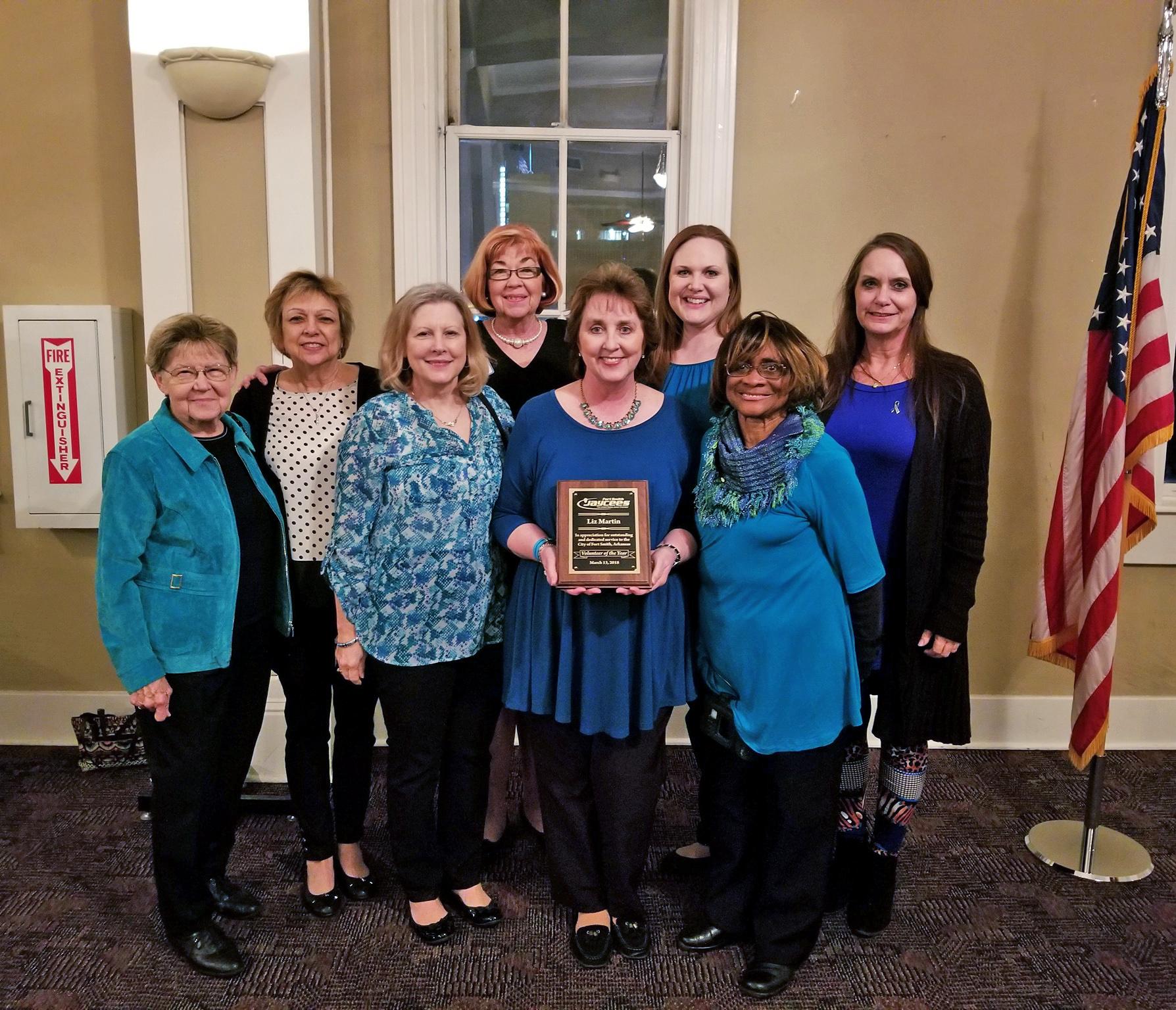 Liz Martin Volunteer of the Year Award Junior Chamber Fort Smith Arkansas River Valley Ovarian Cancer Alliance RVOCA